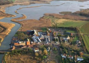 An Ariel shot of Snape Village and Maltings